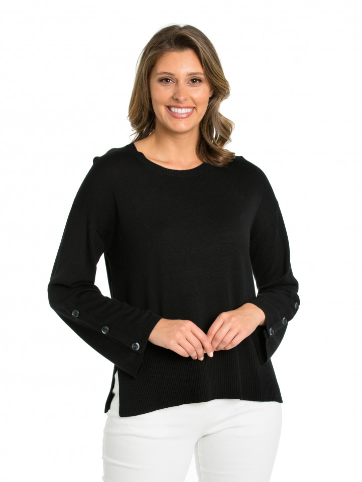 Black Button Sleeve Sweater