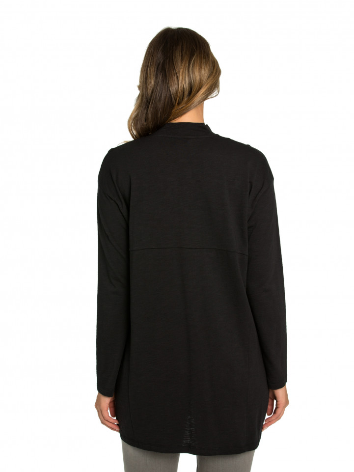 Black Long-line Spliced Tee