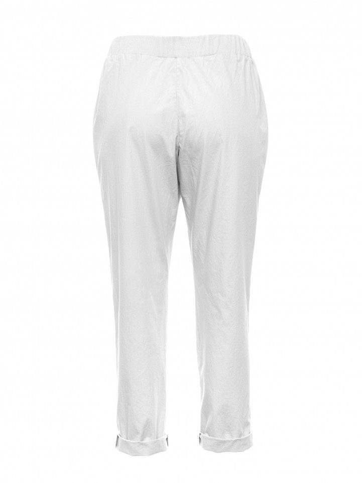 White 3/4 Relaxed Cotton Pant