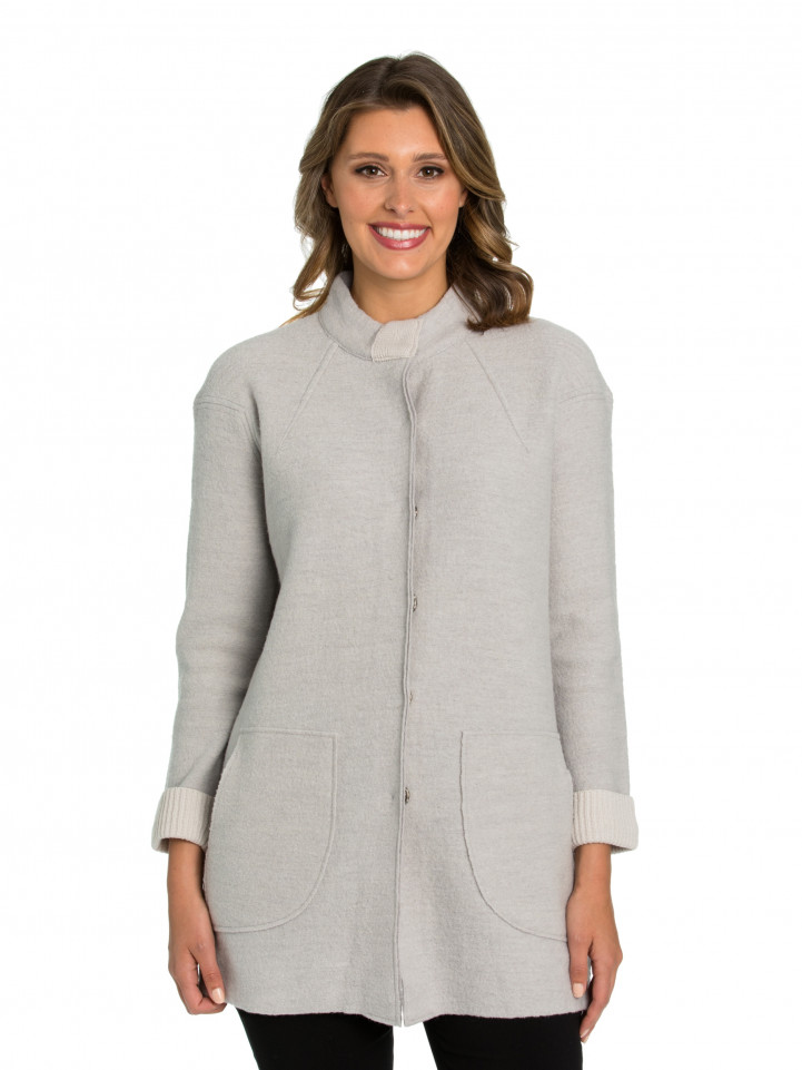 Oatmeal Boiled Wool Tuck Coat