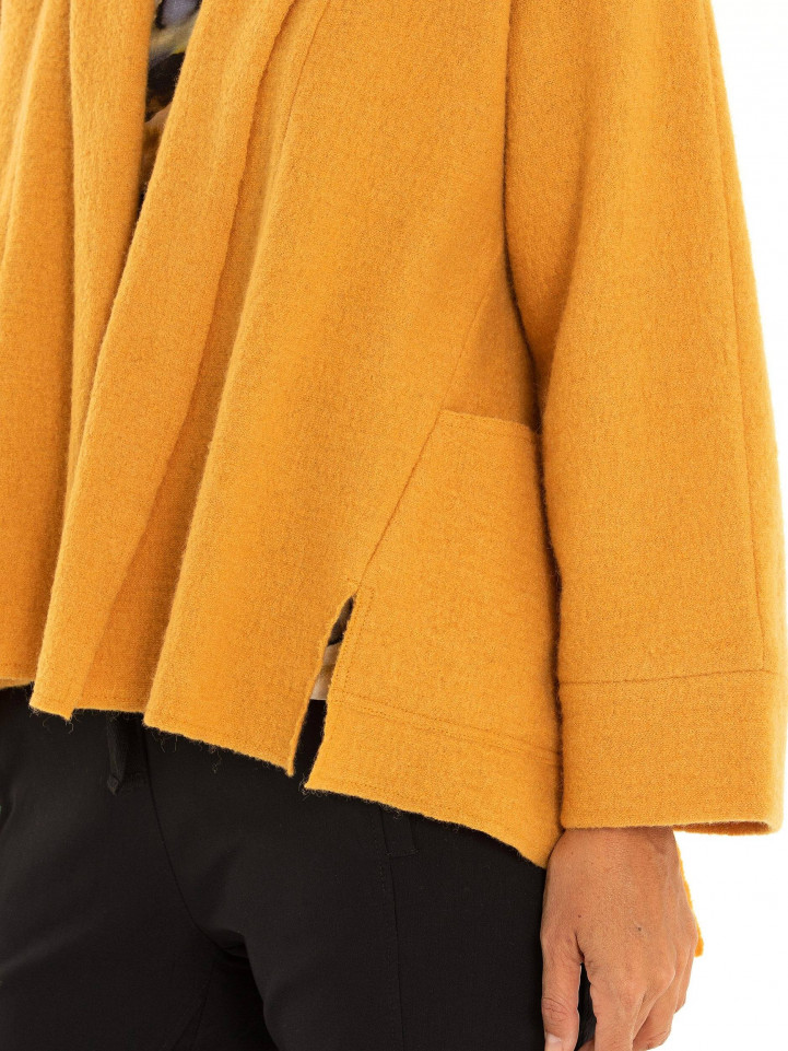 Cropped Boiled Wool Coat