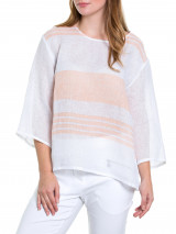 3/4 Gauzy Stripe Top