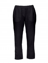 Navy 3/4 Zipper Linen Pant