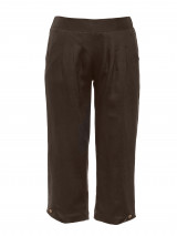 Deep Forest Cropped Linen Pant