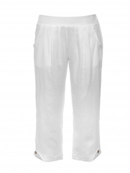 White Cropped Linen Pant