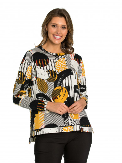 Long Sleeve Abstract Trim Tee