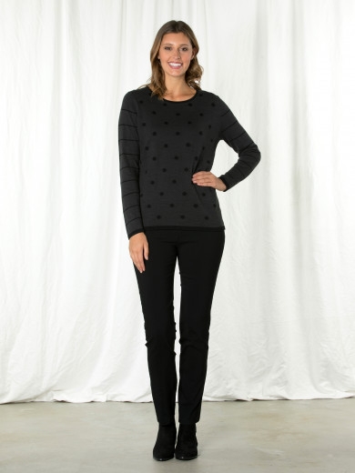 Dark Grey Spot Stripe Knit