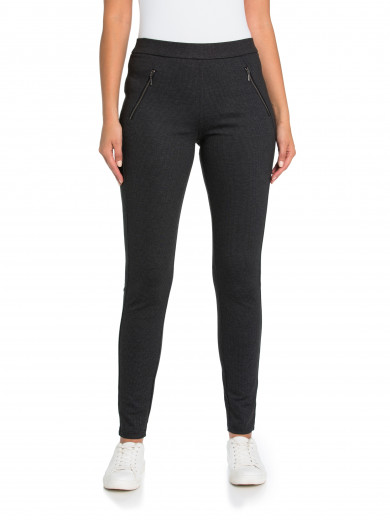 Black Splice Zipper Legging