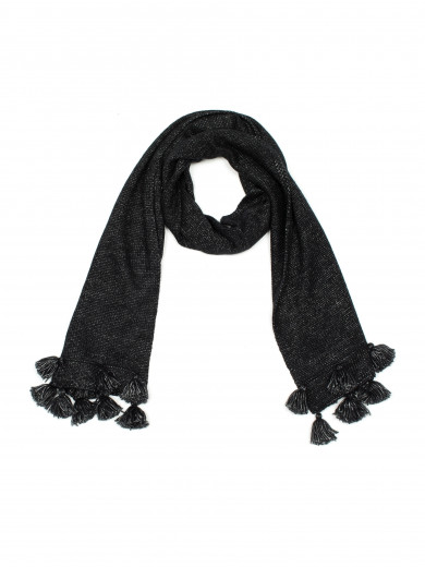Black Tassel End Scarf