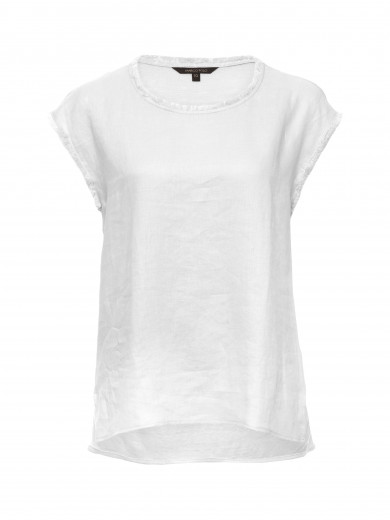 White Contrast Linen Tee