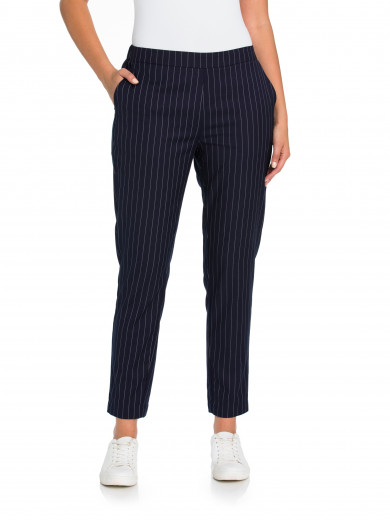 Navy Pull On Stripe Pant