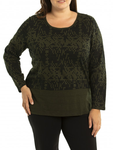 Contrast Barcode Tee - Plus Size