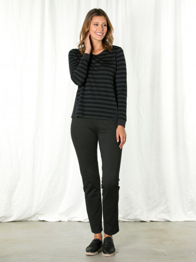 Dark Grey Stripe Contrast Tee