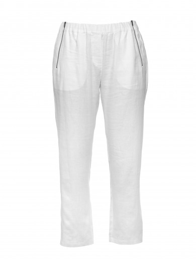 White 3/4 Zipper Linen Pant