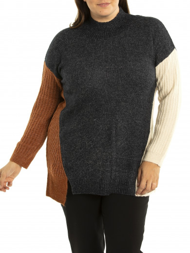 Mixed Spliced Sweater - Plus Size