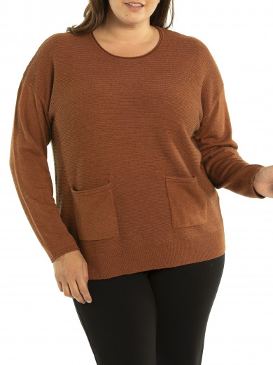 Rib Pocket Sweater - Plus Size