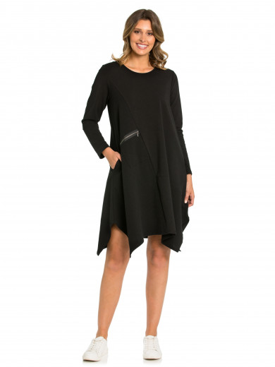 Black Spliced Textured Dress