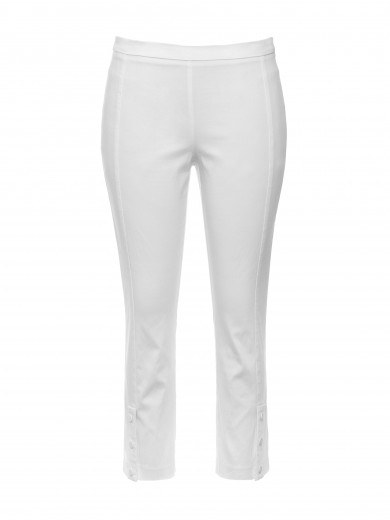 White 3/4 Button Pant