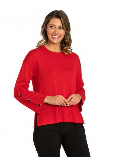 Scarlet Button Sleeve Sweater
