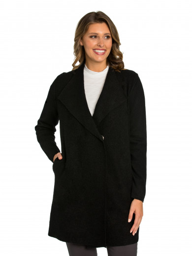 Black Boiled Wool Coat