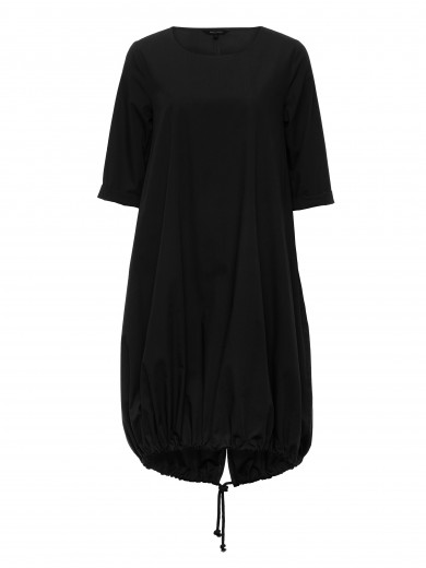 Black Elbow Tie-back Dress