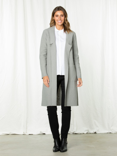 Longline Boiled Wool Coat