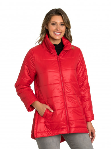 Scarlet Quilted Puffer Coat
