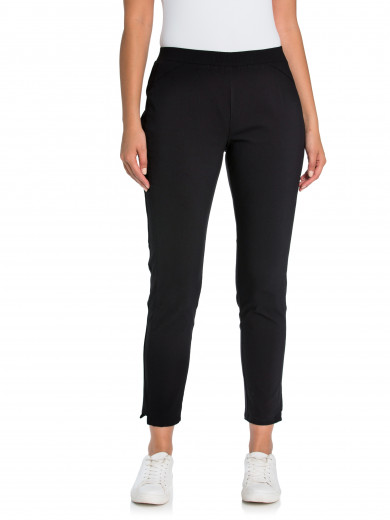 Black Panelled Tappered Pant