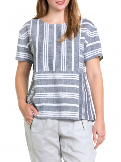 S/s Spliced Stripe Tee