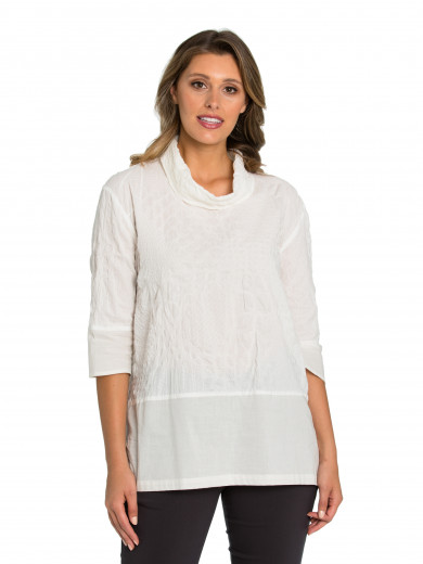 Cloud 3/4 Sleeve Self Spot Tunic