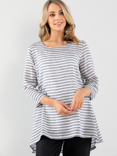 Relaxed Sheer Stripe Tunic