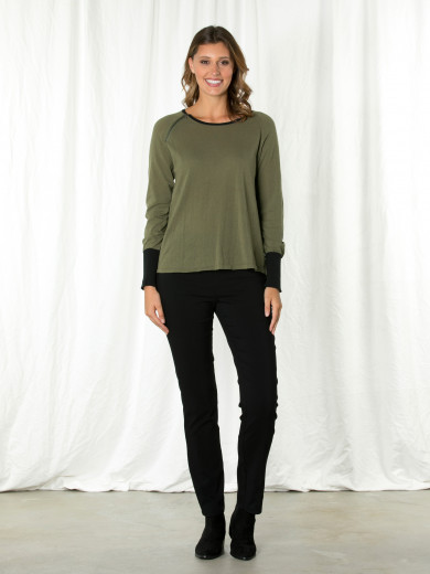 Long Sleeve Trim Cuff Sweater