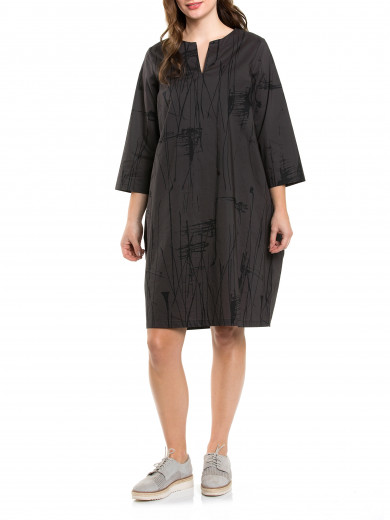 3/4 Slv Abstract Dress