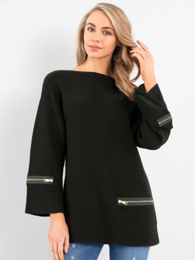 Zip Rib Sweater